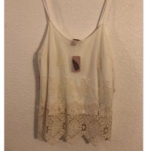 NWT Forever 21 L woven top with crochet details